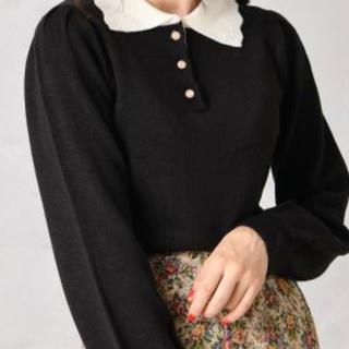 ナイスクラップ(NICE CLAUP)のNice Claup 衿配色ニット ブラック ニット セーター(ニット/セーター)