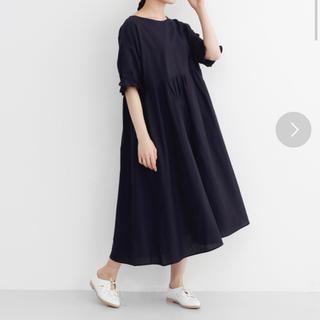 メルロー(merlot)のメルロー merlot インド綿フリル袖ワンピース ブラック(ひざ丈ワンピース)