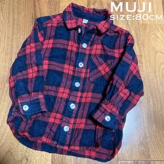 ムジルシリョウヒン(MUJI (無印良品))の無印良品☆赤チェック柄シャツ 80cm (シャツ/カットソー)