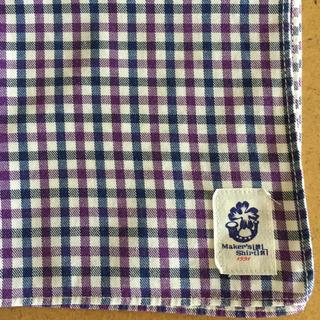 スーツカンパニー(THE SUIT COMPANY)のメーカーズシャツ鎌倉 ワイシャツ生地 ハンカチ パープル ブルー チェック(ハンカチ/ポケットチーフ)