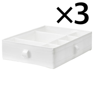 イケア(IKEA)のSKUBB スクッブ 収納ケース 仕切り付き ホワイト 3個セット(ケース/ボックス)