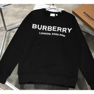 バーバリー(BURBERRY)のBurberry☆ロゴプリント コットン トレーナー BLACK(トレーナー/スウェット)