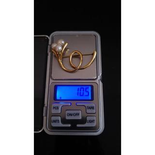 K18 ダイヤモンド&パール ブローチ 10.5g