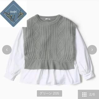 シマムラ(しまむら)のしまむら プチプラのあや 布帛ドッキングニットプルオーバー(ニット/セーター)