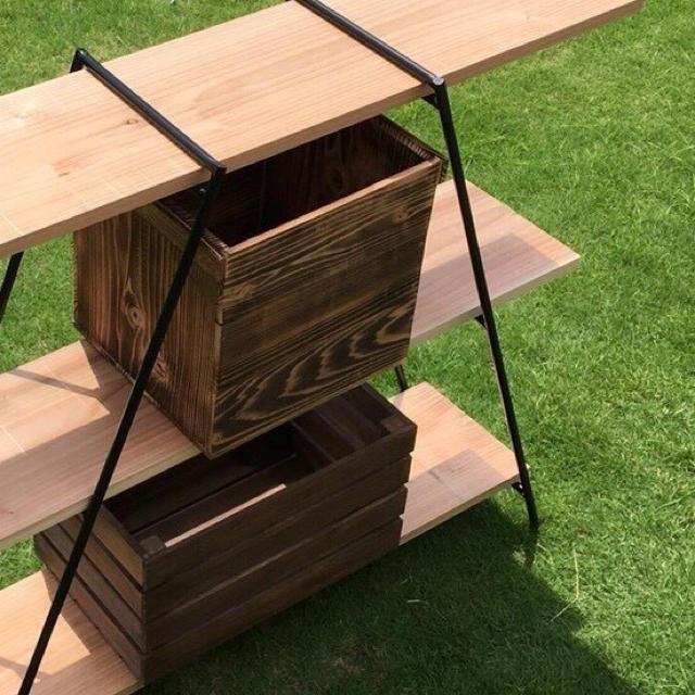アイアンラック 3段 鉄脚2脚 板3枚 // シェルフ 棚 アウトドア キャンプ インテリア/住まい/日用品の机/テーブル(アウトドアテーブル)の商品写真