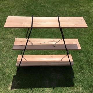アイアンラック 3段 鉄脚2脚 板3枚 // シェルフ 棚 アウトドア キャンプ