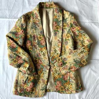 サンタモニカ(Santa Monica)のvintage ジャガード織り 花柄ジャケット(ノーカラージャケット)