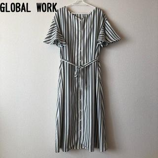グローバルワーク(GLOBAL WORK)のGLOBAL WORK Aラインワンピース M 3way ストライプ  試着のみ(ロングワンピース/マキシワンピース)