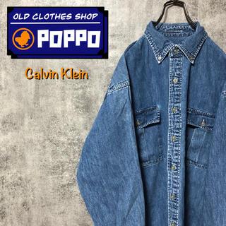 カルバンクライン(Calvin Klein)のカルバンクラインジーンズ☆ロゴタグ・刺繍ロゴダブルポケットデニムシャツ(シャツ)
