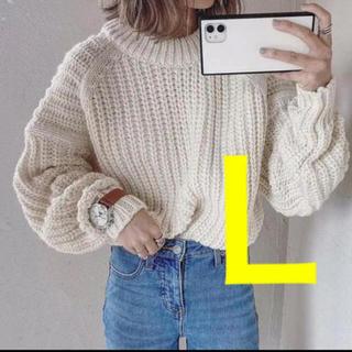 H&M - ◆完売◆H&M チャンキーニット リブニットラウンドネックセーター Lサイズ