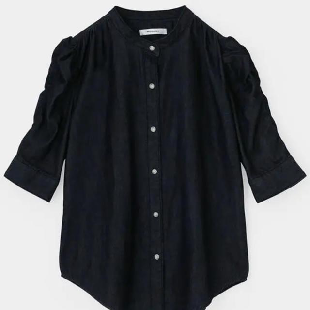 moussy(マウジー)のmoussy ギャザースリーブデニムシャツ レディースのトップス(シャツ/ブラウス(半袖/袖なし))の商品写真