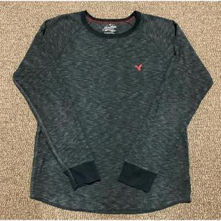 アメリカンイーグル(American Eagle)のアメリカンイーグル メンズ 薄手 セーター ニット XL    グレー 黒(ニット/セーター)