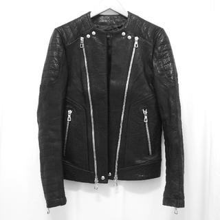 BALMAIN H&M BLACK LEATHER BIKER JACKET