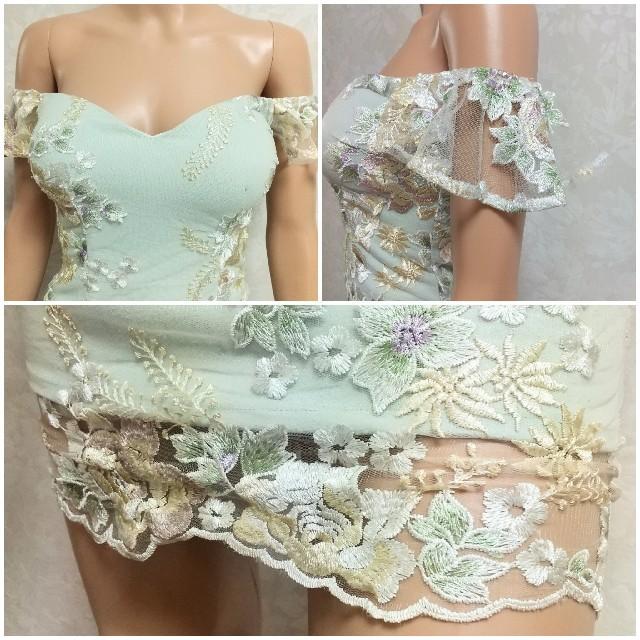 JEWELS(ジュエルズ)のフラワー刺繍 オフショル タイト キャバドレス レディースのフォーマル/ドレス(ナイトドレス)の商品写真