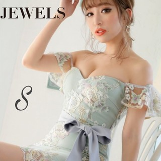 JEWELS - フラワー刺繍 オフショル タイト キャバドレス