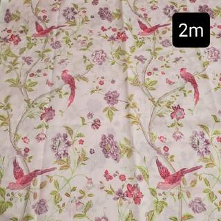 ローラアシュレイ(LAURA ASHLEY)のローラアシュレイ 2m 生地 はぎれ サマーパレス 鳥 花柄 ピンク(生地/糸)