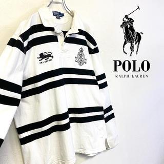 POLO RALPH LAUREN - 美品 Ralph Lauren 刺繍ロゴ ラガーシャツ モノトーンカラー