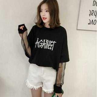 Tシャツ 袖シースルー 重ね着風 ビッグシルエット 刺繍 ロゴ【XL/ブラック】