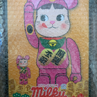MEDICOM TOY - BE@RBRICK 招き猫 ペコちゃん 蛍光ピンク 100% & 400%