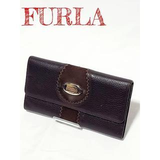 フルラ(Furla)の【美品】FURLA フルラ 長財布 レザー スエード ブラウン(財布)