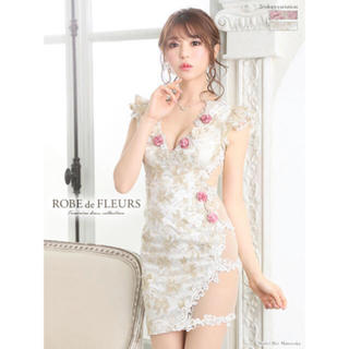 ROBE - ローブドフルール♡フラワーモチーフラメ刺繍レースタイトドレス