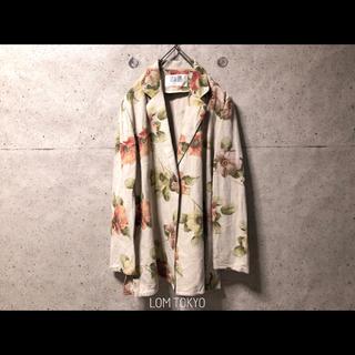 レディース アンティーク フラワー 花柄 リネン 麻 ジャケット レトロ 古着(テーラードジャケット)