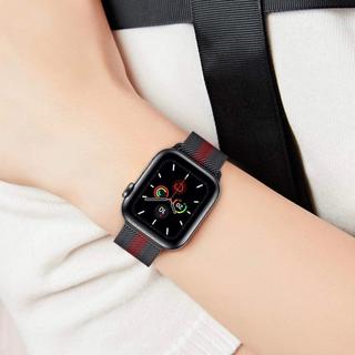 アップルウォッチ(Apple Watch)のApple Watch ステンレスミラネーゼループメッシュ ブラック×レッド(金属ベルト)