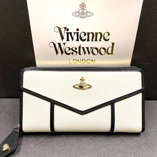 Vivienne Westwood - Vivienne Westwood 長財布 ラウンドファスナー ホワイト 縁黒