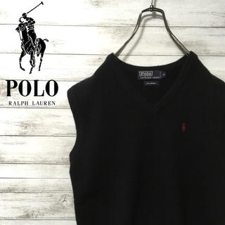 ポロラルフローレン(POLO RALPH LAUREN)の激レア 90s ラルフローレン ニットベスト ウール 刺繍ロゴ 美品(ベスト)