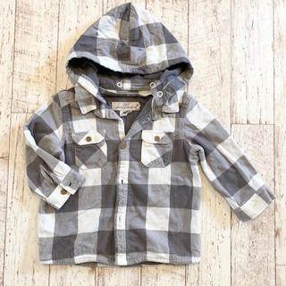 エイチアンドエム(H&M)の【H&M】チェックシャツ ネルシャツ フード付き パーカー グレー 80(ジャケット/上着)