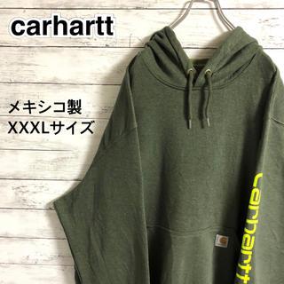 carhartt - 【激レア】カーハート☆アームビッグロゴ ロゴタグ グリーン パーカー メキシコ製