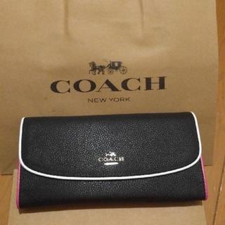 COACH - COACH長財布 二つ折りブラックピンク淵