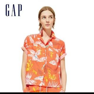 ギャップ(GAP)のGAP リネンコットンプリントシャツ L(シャツ/ブラウス(半袖/袖なし))
