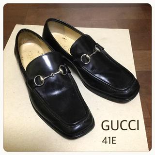 Gucci - GUCCI★ グッチ メンズ スクエアトゥ 本革 ローファー 黒 41E