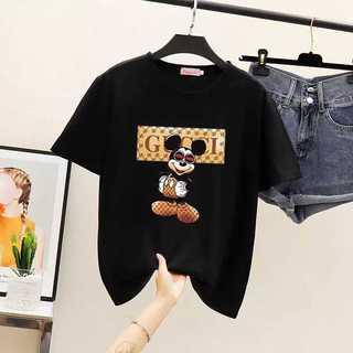 黒 ミッキー ディズニー Tシャツ レディース シャツ グッチチック(Tシャツ(半袖/袖なし))