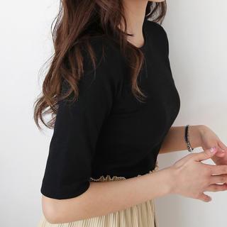 dholic - DHOLIC ハーフスリーブリブTシャツ ブラック