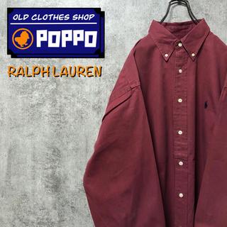 Ralph Lauren - ラルフローレン☆ワンポイント刺繍ロゴスーパービッグシャツ 90s