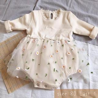 韓国子供服80  秋服 冬服 ワンピース ロンパース 花柄 チュールドレス