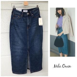 Mila Owen - 新品 ミラオーウェン みもれ丈 タイト デニム スリット スカート