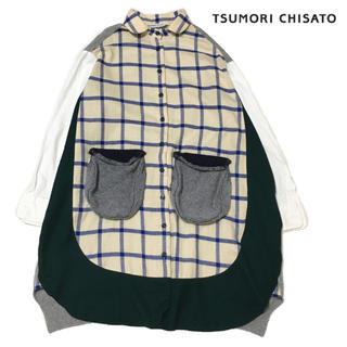 ツモリチサト(TSUMORI CHISATO)のツモリチサト 切替ニット シャツ ドッキング  ワンピース エイネット (ひざ丈ワンピース)