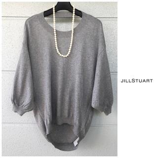 JILLSTUART - 新品 ジルスチュアート 5分袖 背中デザイン グレー ニット