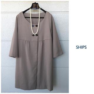 シップス(SHIPS)のSHIPS【洗える】七分袖 ノーカラー スプリングコート 日本製(ノーカラージャケット)