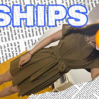 シップス(SHIPS)の【お値下げ】ワンピース ベージュ 茶色 ships シンプル 絹使用 大人可愛い(ミニワンピース)