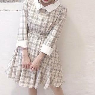 evelyn - evelyn♡チェック襟カフスワンピース
