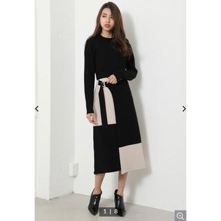 rienda - bicolor wrap LONG SLV knit OP♡タグ付き未使用品