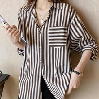 レディースシャツ ストライプシャツ ブラウス 長袖(シャツ/ブラウス(長袖/七分))