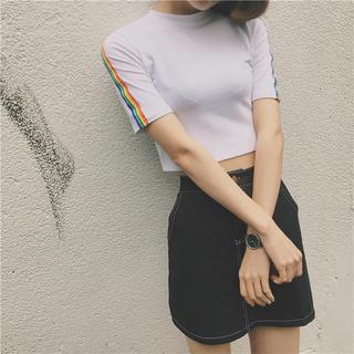 ♡L/レインボーTシャツ 白(Tシャツ(半袖/袖なし))