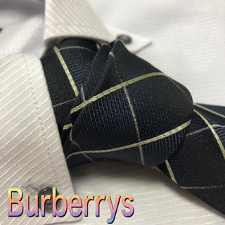 BURBERRY - バーバリー  ネクタイ チェック柄 厚手 光沢 ネイビー系