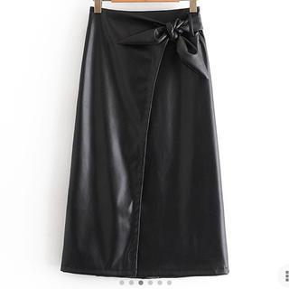 ZARA - PUレザースカート L ブラック