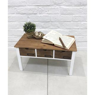 新品 オールドウッド引き出し付き 天然木 アンティークなローテーブル (ローテーブル)